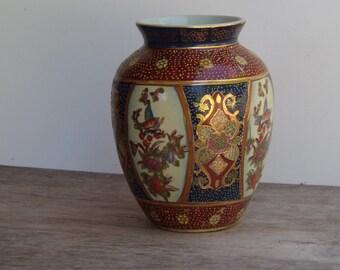 Antique Japanese Satsuma Porcelain Vase Hand Painted Gold Gilded Vase Satsuma Ware Collectible Vase