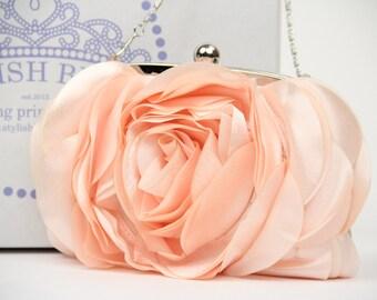 Bridal clutch, Blossom Satin Clutch, Pink Satin Clutch, Satin Clutch, wedding clutch, wedding bag, bridesmaid clutch, Purse for wedding