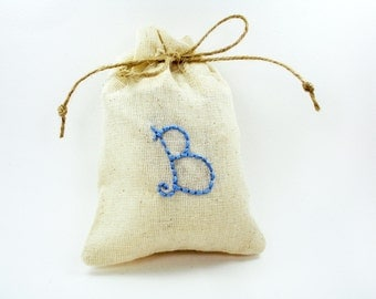 Small custom canvas bag, Personalized initials bag, Custom wedding guest favor wrap, Party gift bag, Ivory fabric bag, Rustic, Vintage