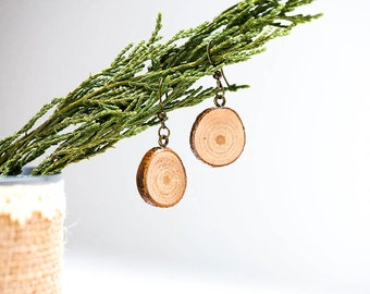 Wooden dangle earrings - Natural wood jewellery  - Eco friendly, nature earrings - Rustic jewelry - Gift for her