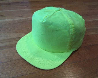 Blank Lime Green trucker hat highlighter cap summer lightweight plain cap