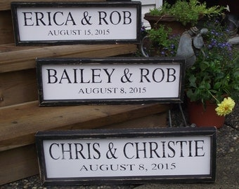 Handmade Wooden Wedding Sign with Distressed Frame