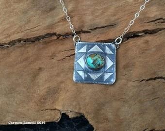 Quilt square block pendant, turquoise pendant, quilt jewelry