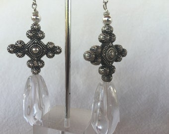 Lucite with Vintage Silver Earrings