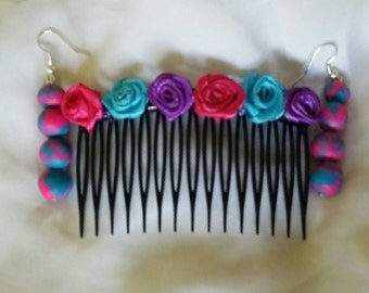 Earring and rose hair comb set