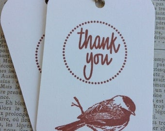 Chickadee Rustic Thank You Tags/ Bird Gift Tags/Rustic Style Gift Tags/Favor and Gift Tags/Packaging/Gift Wrap/Cottage Tags/Set of 6