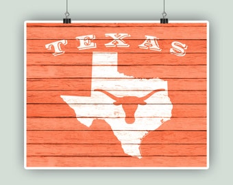 Texas state art, Texas map and longhorn on orange faux wood background, Longhorn print, Cottage decor, Educational print, Instant download.
