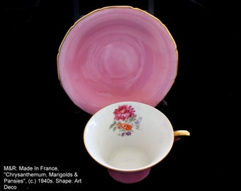 M&R (Made in France) teacup and saucer