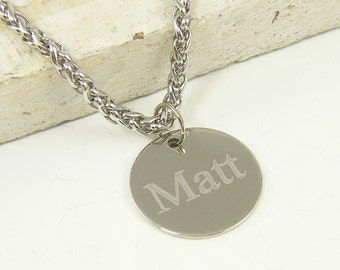 Engraved Men's Necklace Custom Name Necklace Stainless Steel Personalized Jewelry for Him |2610
