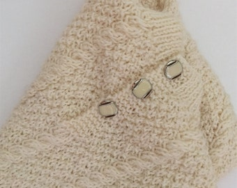 Cream Colored Cable Hand Knitted Jumper