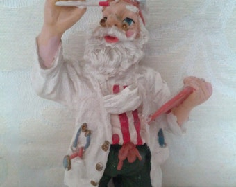 Old Fashion Doctor Santa Clause Figurine or Christmas Tree Ornament