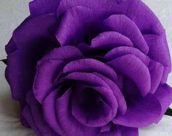 GIANT PURPLE rose - Hand crafted Crepe Paper