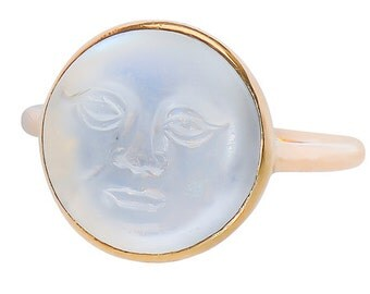 MARKED DOWN! Moonstone Vintage Ring Man in the Moon Ring || Vintage Blue Moonstone Ring 1920's  Yellow Gold || 17330