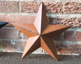 """3/Set (12"""") Rusty Metal Barn Stars, Country Barn Star, Country Craft Star, Metal Star, Primitive Home Decor, Country Home Decor"""