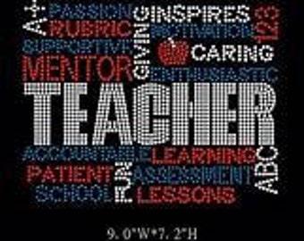 Iron On Teacher Rhinestone Transfer