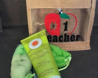 Teacher Appreciation Burlap Bag with Bath Supplies