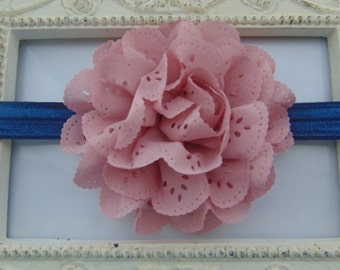 Navy Baby Headband with Vintage Pink Flower