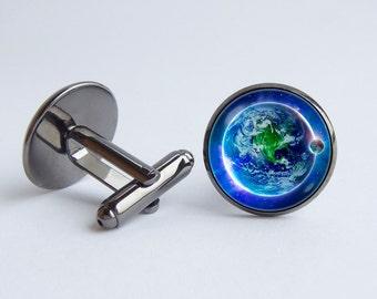 Earth cufflinks Planet Earth cuff links Groomsmen gift Blue planet Solar system Husband gift Planet cuff links Earth jewelry Space jewelry