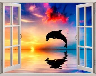 3D Window Dolphin Wall Sticker