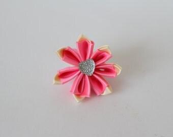 Pink kanzashi flower. Ponytail.A ponytail hair.Flower girl ponytail hairstyles.Ponytail pink color.Ponytail made in satin ribbon.