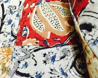 Kalamkari patch work mul mul cotton dyed in natural colours all vegetable dyes in India