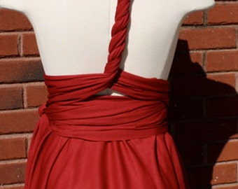 beautiful wine red infinity convertible wrap dress