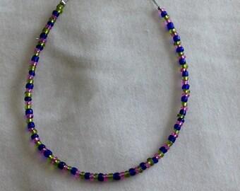 Transparent Bead Bracelet, Blue, Green, and Magenta.