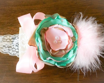 Vintage inspired flower headband, pink and Aqua headband