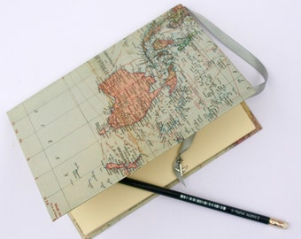 Travel journal, map notebook, Australia, New Zealand, A5 plain paper, hand-bound diary, teacher gift