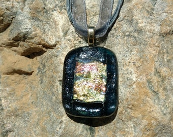 Dichroic Fused Glass Pendant, shimmering red and gold, Handmade Necklace