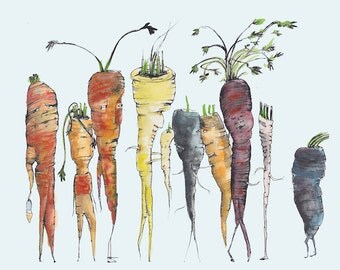 Carrots Are Like Me and You Vegetable Print // watercolor of vegetable // pen and ink // botanical illustration // farmer made