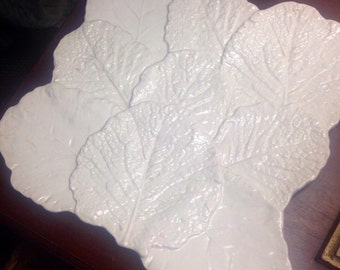 White Amora leaf platter made in Italy