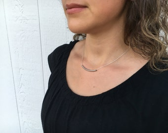 Simple Curved Bar Necklace - Silver