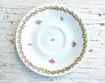 Limoges Saucer, Vintage China, Laternier Porcelain, French Tableware, Pink Rose Saucer, French Vintage, Vintage Limoges China