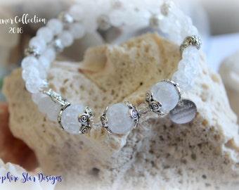 White Stone and Silver Beaded Wrap Bracelet