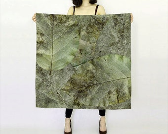 Brown Silk Scarf Printed Scarf Lightweight Scarf Square Scarf Leaf Printed Womens Scarf Fashion Scarf Fall Summer Scarf Leaves Gift for Her