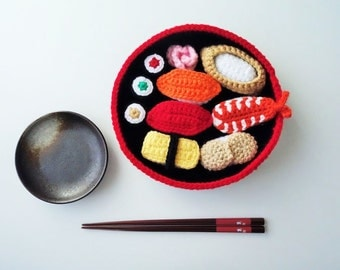 Crochet Sushi Set With Tray -Assemble Your Own Sushi. Play Food, Pretend Play, Amigurumi Sushi