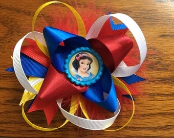 5 inch red, blue and yellow stacked Snow White hair bow