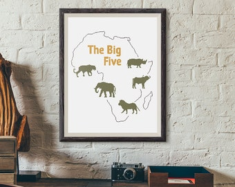 Cross stitch pattern - The Big Five (elephant, leopard, buffalo, lion and rhinoceros) on map of Africa - PDF Digital Download only