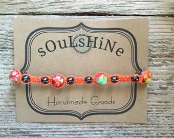 Bracelet, Orange Bracelet, Macrame Bracelet, Cord bracelet with beads, Boho Bracelet, Stacking Bracelet, Square Knot, Friendship