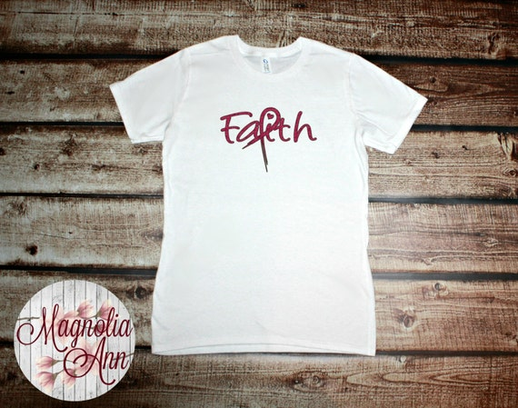 Magenta Glitter Faith Breast Cancer Graphic Women's T-shirt in White, Gray and Black in Sizes Small-4X