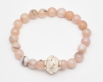 Natural Stone Bracelet with Filigree Charm