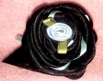 Black Ribbon Flower French Barrette