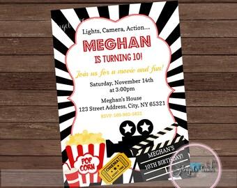 Movie Party Invitation, Movie Night Party Invitation, Movie Night Invitation, Movie Night Birthday Invitation, Digital File.