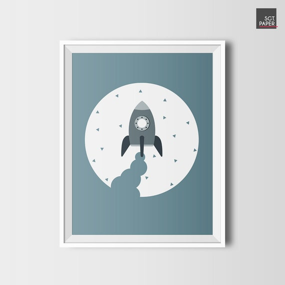 Razzo stampa, razzo arredamento, arte della parete spazio, astronauta stampa, carta rucola, download immediato, camera ragazzo, razzo blu