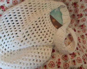 Handmade crochet market bag in white