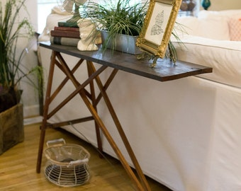 Reclaimed Wood Ironing Board Base Collapsible Sofa Table