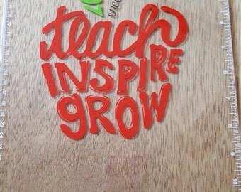 Teach Inspire Grow Clear Clipboard