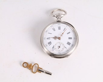 Vintage Old French Made Silver Key Winding Pocket Watch.