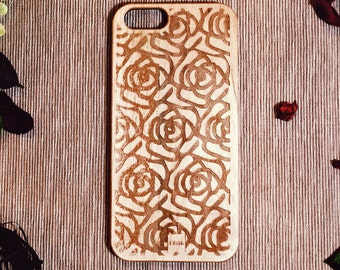 Ching-Customized Wood Phone Case Romantic Rose